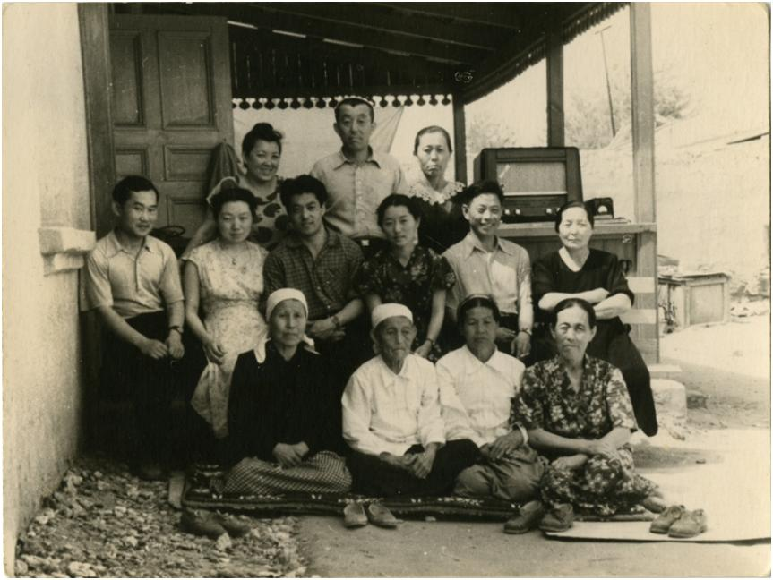 A typical Korean family in a kolkhoz after 1956
