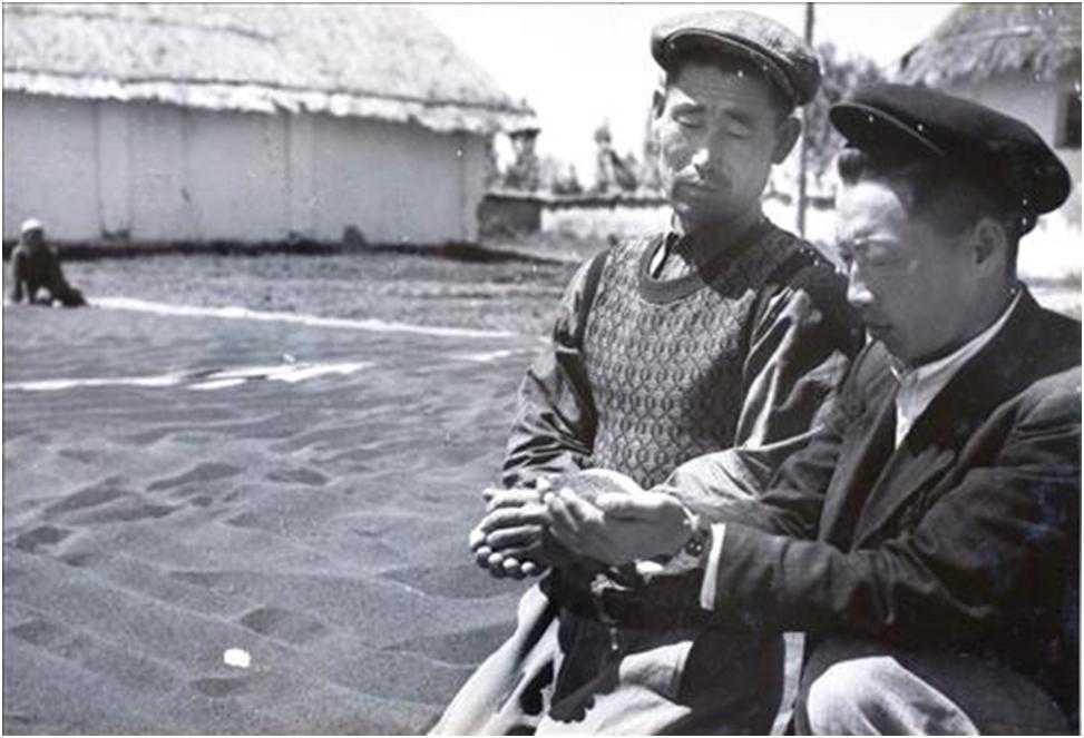 Korean farmers growing rice, wheat and other grain crops in Soviet Uzbekistan.